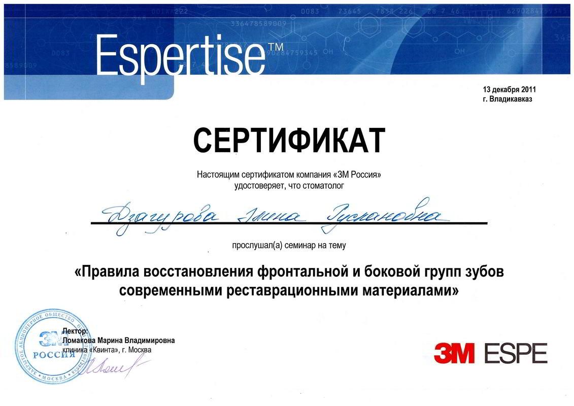 Дзагурова Элина Руслановна - сертификат