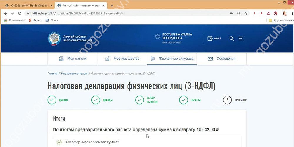 Заполнение данных на сайте nalog.ru